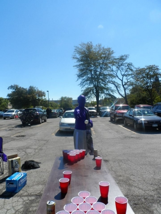 """""""Purple Man"""" Playing Pong in Evanston, IL"""