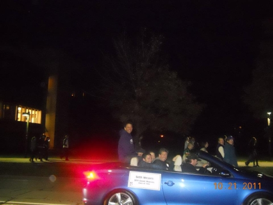 Seth Meyers and his friends laughing at me out of the Grand Marshall car at the NU Homecoming Parade, Evanston, IL