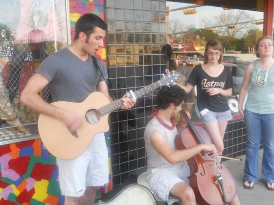 Buskers playing Mumford & Sons for Miro, Julia, and I on the street in Austin