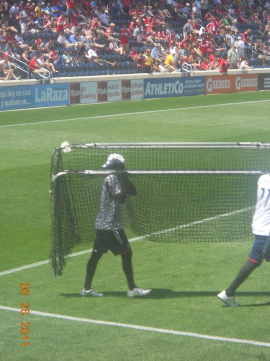 worst job ever at Toyota Park home of the Chicago Fire (if you can't tell that spandex suit covers his face)