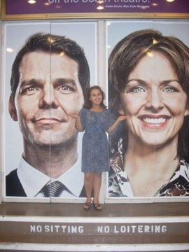 Hanna with the faces of J. Robert Spencer and Alice Ripley when they were starring in Next to Normal, NYC