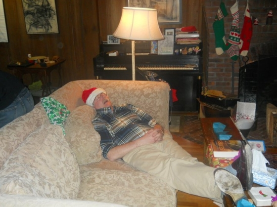 My dad recovering from Christmas dinner, New Haven, CT