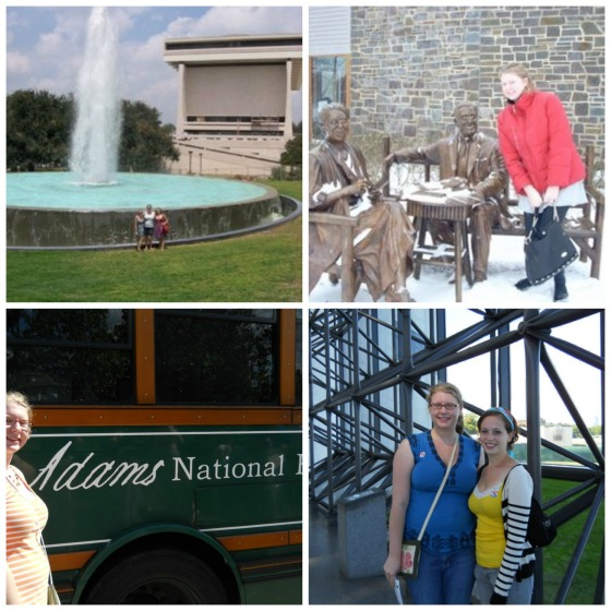 Clockwise from left: Miro, Lex & I at the LBJ library; Me hanging with the Roosevelts in Hyde Park, NY; Lex & I at the JFK Libray; Me with the shuttle that connects the John Adams and John Quincy Adams Museums