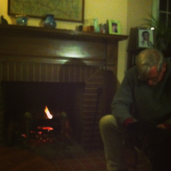 Thanksgiving Eve fireside chat with my dad and Salty Dog