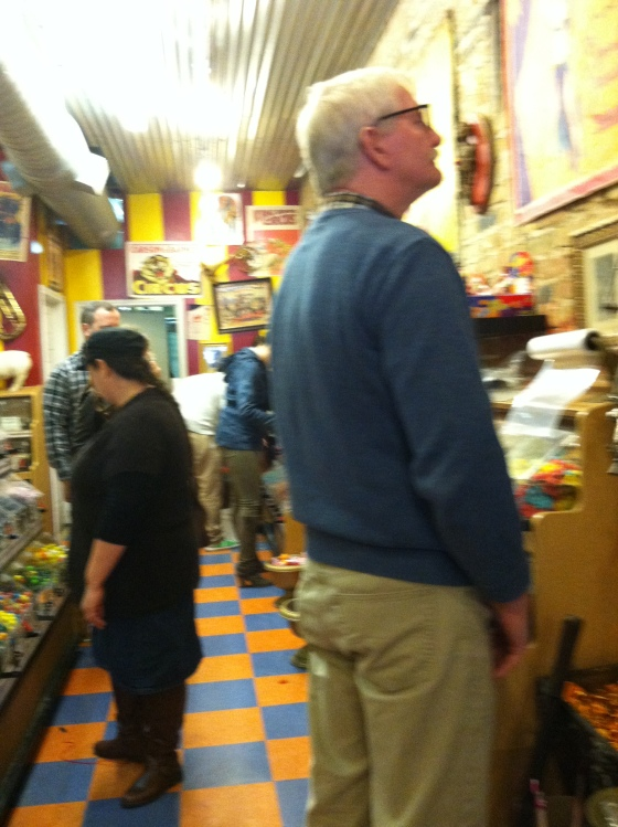 Dad having a lot of festive fun at the Big Top Candy Shop