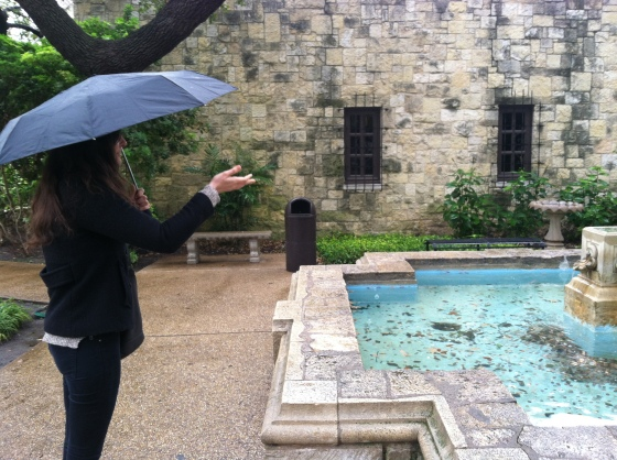 Victoria making a wish outside of the Alamo research library