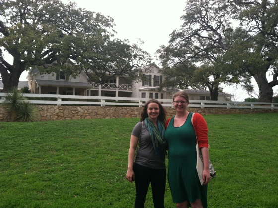 "M and I in front of the ""Texas White House,"" which was gorgeous and homier than I expected"