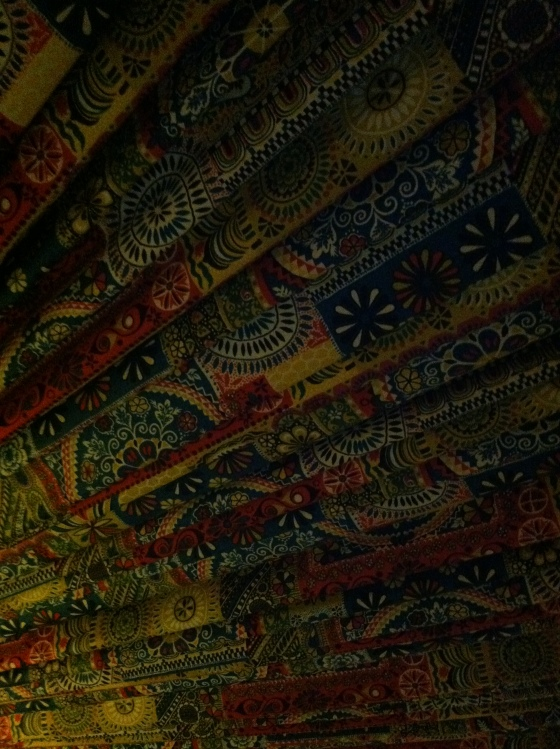 The ceiling in the pool room, which he had upholstered in this fabric I'm kind of in love with