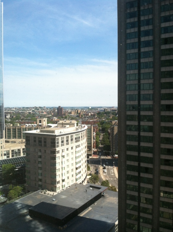The view from Miró and my gorgeous hotel room at the Sheraton Boston